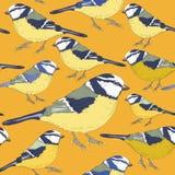 Pájaros del Tit Modelo inconsútil Ejemplo del vector en fondo amarillo Foto de archivo