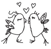 Pájaros dibujados mano de la primavera del garabato en amor Imagen de archivo libre de regalías