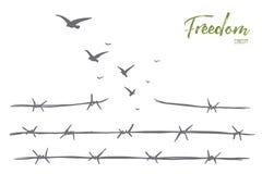 Pájaros dibujados mano que vuelan sobre el alambre de púas quebrado stock de ilustración
