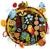 Pájaros e impresión de las flores. Imagen de archivo libre de regalías