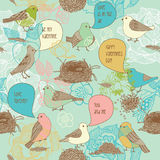 Pájaros en amor. modelo inconsútil Imagenes de archivo