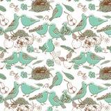 Pájaros en amor. modelo inconsútil Imágenes de archivo libres de regalías