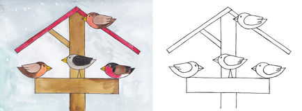 Pájaros en el alimentador Fotos de archivo