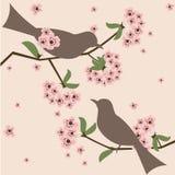 Pájaros en flor Imágenes de archivo libres de regalías