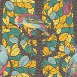 Pájaros en la madera del otoño. Antecedentes inconsútiles. Vector dibujado mano Fotografía de archivo libre de regalías