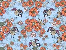 Pájaros en las flores stock de ilustración