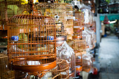 Pájaros en las jaulas para la venta en Hong Kong Foto de archivo