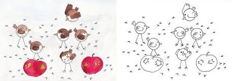 Pájaros en manzanas Foto de archivo libre de regalías