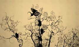 Pájaros en un árbol Fotografía de archivo