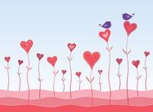 Pájaros en un jardín de los corazones stock de ilustración