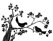 Pájaros en una ramificación ilustración del vector