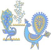 Pájaros fantásticos azules, vector i Fotografía de archivo