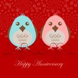 Pájaros felices del amor del aniversario dos stock de ilustración