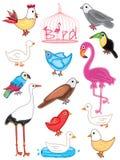 Pájaros fijados ilustración del vector