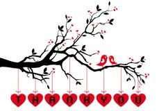 Pájaros en el árbol con los corazones rojos, vector Fotografía de archivo libre de regalías