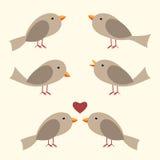 Pájaros lindos del vector fijados Foto de archivo libre de regalías