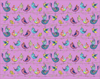 Pájaros lindos y divertidos en un fondo rosado Ilustración del vector Foto de archivo