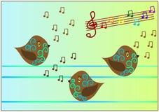 Pájaros que cantan música de la canción stock de ilustración