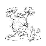 Pájaros que discuten con tres ilustración del vector