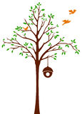 Pájaros que salen del árbol y de la jaula stock de ilustración