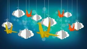 Pájaros que vuelan en el cielo, el mejor fondo de pantalla de vídeo del lazo para que nana ponga a un bebé para dormir, el calmar almacen de metraje de vídeo