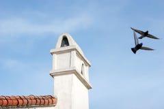 Pájaros que vuelan por la chimenea Foto de archivo