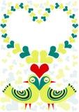 Pájaros retros en tarjeta del día de tarjetas del día de San Valentín del amor Fotografía de archivo libre de regalías