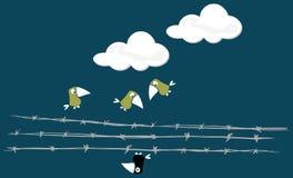 Pájaros sobre el alambre ilustración del vector