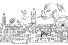Pájaros sobre Londres ilustración del vector