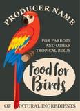Pájaros tropicales de la alimentación de la etiqueta Imagen de archivo