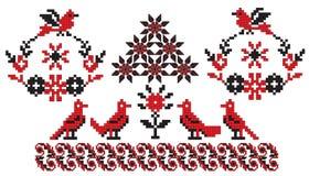 Pájaros ucranianos del bordado ilustración del vector