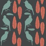 Pájaros verdes del canto del modelo gris inconsútil simple y plumas rojas que se sientan en un fondo ligero ilustración del vector