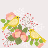 Pájaros y flores ilustración del vector