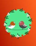 Pájaros y flores de la tarjeta del día de San Valentín Imagen de archivo libre de regalías
