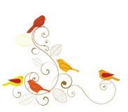 Pájaros y Flourish Foto de archivo libre de regalías