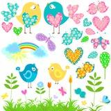 Pájaros y mariposas Imagen de archivo