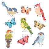 Pájaros y mariposas Imágenes de archivo libres de regalías