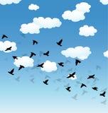 Pájaros y nubes de vuelo en el cielo ilustración del vector