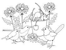 Pájaros y ratones con las flores, página que colorea Imagen de archivo libre de regalías