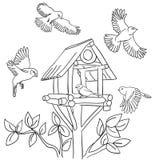 Pájaros y trought ilustración del vector