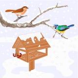 Pájaros y vector del tema del invierno del alimentador stock de ilustración