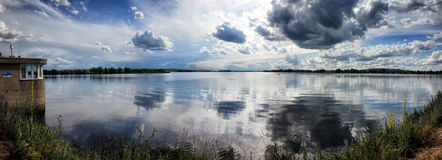 Pálava. Wide view of the Mušov reservoir, Pálava, Czech Republic Royalty Free Stock Image
