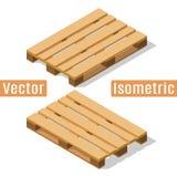Pálete de madeira isométrica Imagens de Stock Royalty Free