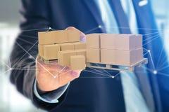 Pálete dos carboxes com sistema da conexão de rede - 3d rendem Foto de Stock Royalty Free