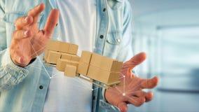 Pálete dos carboxes com sistema da conexão de rede - 3d rendem Imagem de Stock