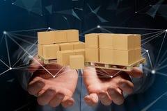 Pálete dos carboxes com sistema da conexão de rede - 3d rendem Fotografia de Stock