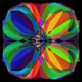 Pálete geométrica da mandala da flor, a brilhante e a colorida, fundo preto liso ilustração stock