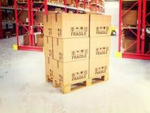 páletes 3d no armazém Imagem de Stock