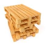 Páletes de madeira na pilha no fundo branco Imagens de Stock Royalty Free