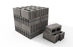 Páletes dos blocos de cimento em um fundo branco Imagens de Stock